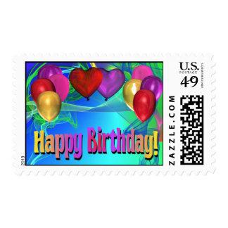 Globos del feliz cumpleaños franqueo
