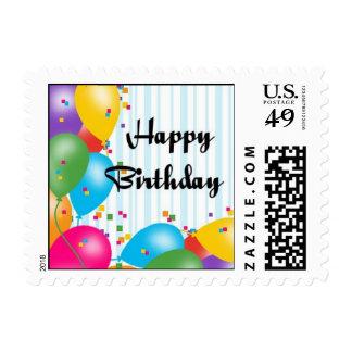 Globos del feliz cumpleaños sellos postales