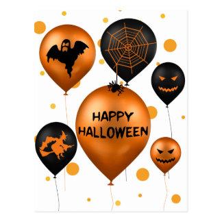 Globos del fiesta de Halloween - postal