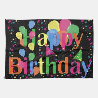 Globos del fiesta del feliz cumpleaños toalla de mano