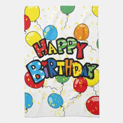 globos del fiesta del feliz cumpleaños toallas de cocina