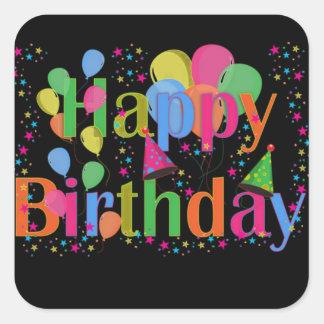 Globos del fiesta del feliz cumpleaños calcomanías cuadradass personalizadas
