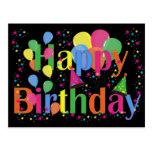 Globos del fiesta del feliz cumpleaños postal