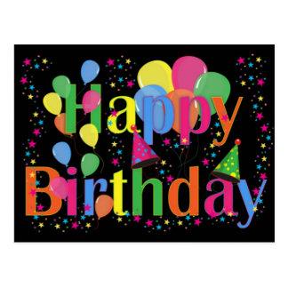 Globos del fiesta del feliz cumpleaños tarjeta postal