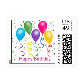 Globos del fiesta del feliz cumpleaños timbres postales