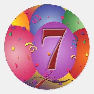 Globos del fiesta para el 7mo cumpleaños pegatinas