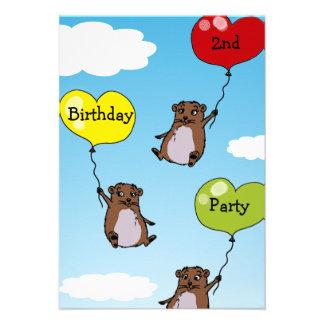 Globos del hámster 2da fiesta de cumpleaños invitaciones personales