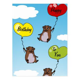 Globos del hámster feliz cumpleaños tarjeta postal
