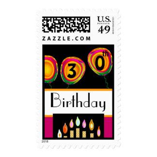 globos del trigésimo cumpleaños - y velas sellos postales