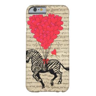 Globos divertidos de la cebra y del corazón del funda de iPhone 6 barely there