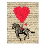 Globos divertidos de la cebra y del corazón del vi tarjeta postal