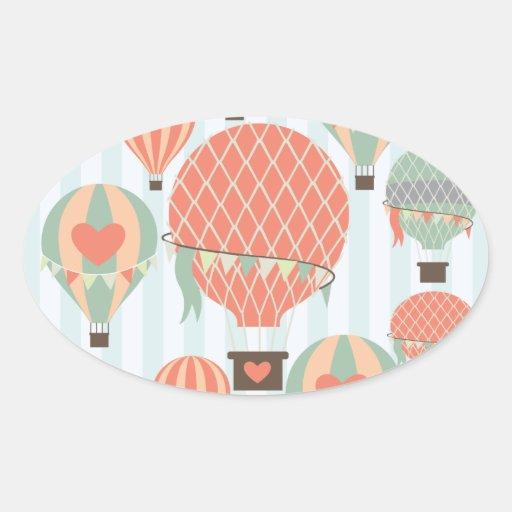 Globos en colores pastel del aire caliente que pegatina ovalada