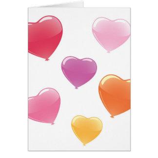 Globos en forma de corazón tarjeta de felicitación