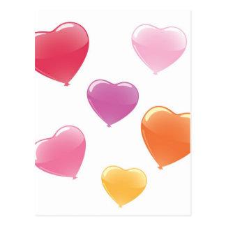 Globos en forma de corazón tarjeta postal
