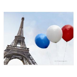 Globos en los colores de la bandera francesa postales