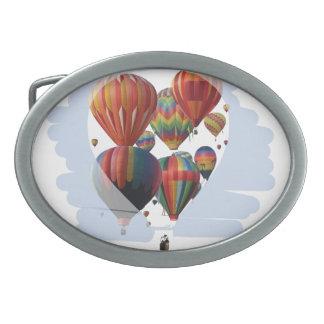 Globos en un globo hebilla de cinturon oval