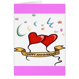 Globos felices del aniversario y del corazón tarjeta