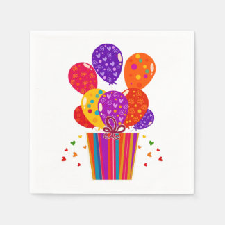 Globos festivos del cumpleaños, regalo servilletas desechables