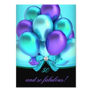 """Globos fiesta negro púrpura de 50 del trullo invitación 4.5"""" x 6.25"""""""