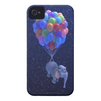 Globos lindos del vuelo del elefante 3d (editable) carcasa para iPhone 4 de Case-Mate