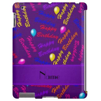 Globos púrpuras conocidos del feliz cumpleaños del funda para iPad