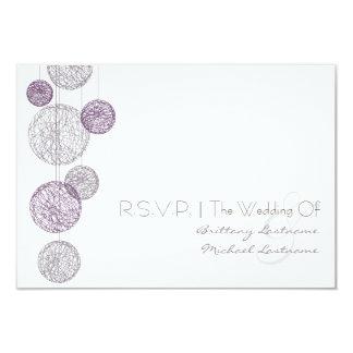 """Globos púrpuras de la guita que casan R.S.V.P. Invitación 3.5"""" X 5"""""""