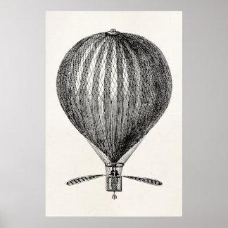 Globos retros del dirigible del globo del aire cal poster