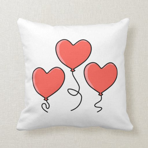 Globos rojos del corazón almohada