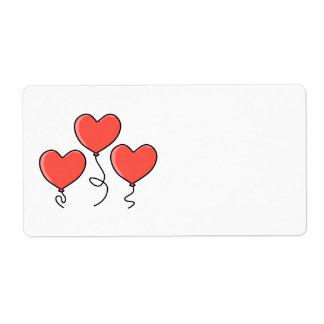 Globos rojos del corazón etiquetas de envío
