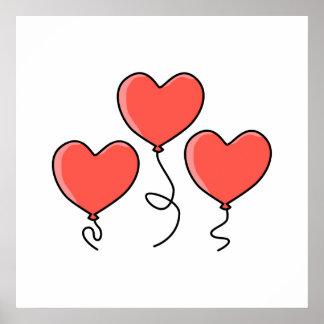 Globos rojos del corazón poster