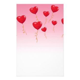 Globos rojos del corazón papeleria de diseño