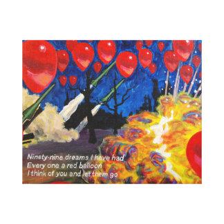 Globos rojos lona envuelta para galerías