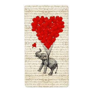 Globos románticos del elefante y del corazón etiqueta de envío