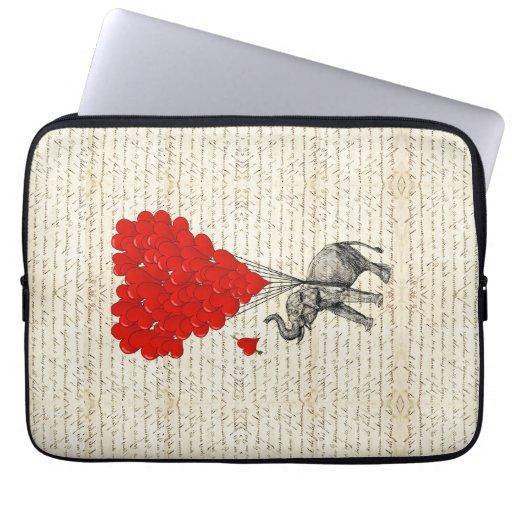 Globos románticos del elefante y del corazón fundas computadoras