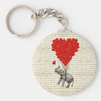 Globos románticos del elefante y del corazón llavero personalizado