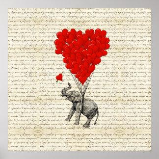 Globos románticos del elefante y del corazón impresiones