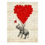 Globos románticos del elefante y del corazón postal