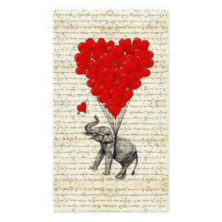 Globos románticos del elefante y del corazón tarjetas de visita