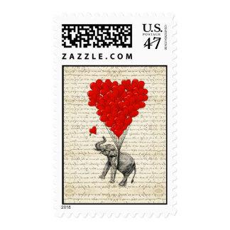 Globos románticos del elefante y del corazón timbres postales