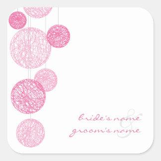 Globos rosados de la guita que casan al pegatina