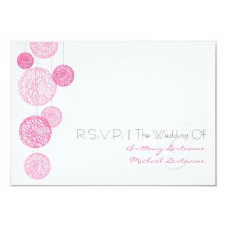"""Globos rosados de la guita que casan R.S.V.P. Invitación 3.5"""" X 5"""""""