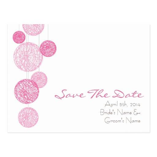 Globos rosados de la guita que casan reserva la fe tarjetas postales