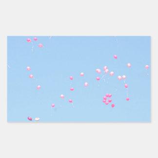 Globos rosados rectangular pegatina