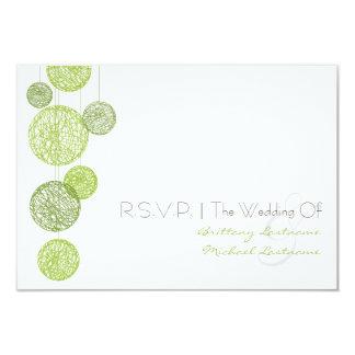 """Globos verdes de la guita que casan R.S.V.P. Invitación 3.5"""" X 5"""""""