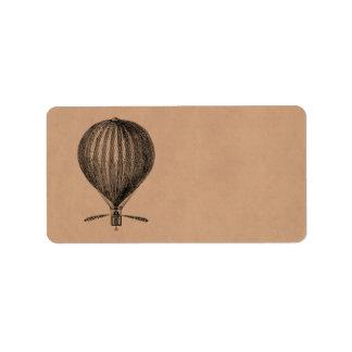 Globos viejos del dirigible retro del globo del ai etiqueta de dirección