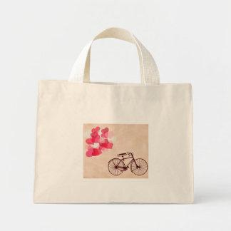 Globos y bicicleta en forma de corazón bolsa tela pequeña