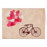 Globos y bicicleta en forma de corazón felicitaciones