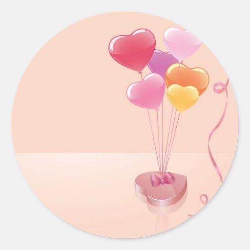 Globos y chocolates del corazón pegatina redonda