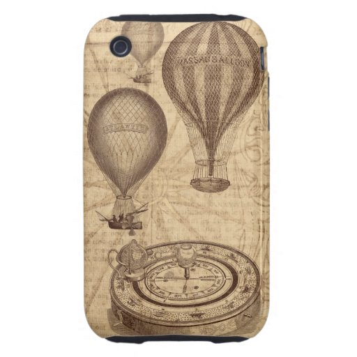 globos y compás del aire caliente del steampunk de tough iPhone 3 funda