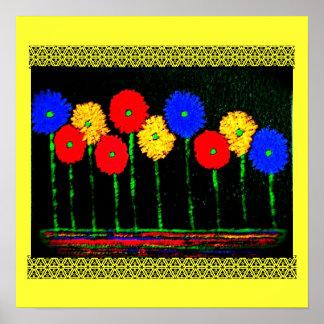 Globos y poster de las flores